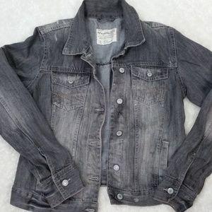 Aeropostale Size L Distressed Gray Denim Jacket